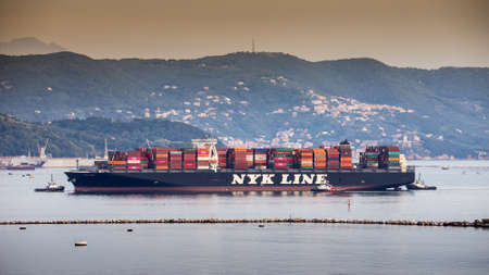 LA SPEZIA,ITALY - OCTOBER 13,2019. NYK vessel coming to harbour in La Spezia. Nippon Yusen Kabushiki Kaisha (NYK) is one of the oldest and largest shipping companies in the world.