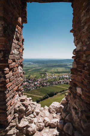 South Moravia land seen through window of Devicky castle