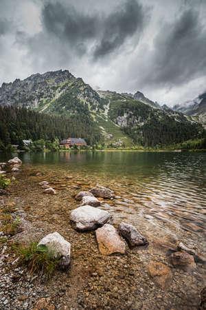 Popradské pleso (once called Rybie pleso) is a mountain lake of glacial origin located in the High Tatras, Slovakia. Standard-Bild - 168110922