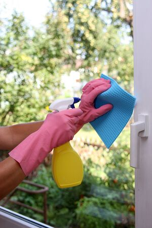 Cleaning windows Stock Photo
