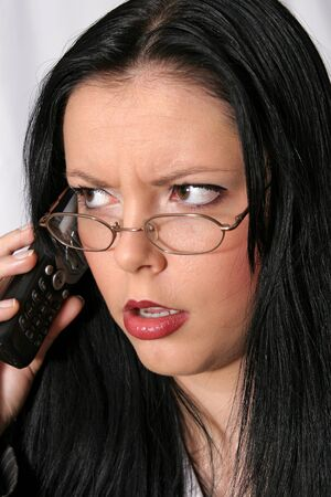 advise: telephoned Sekretärin Stock Photo