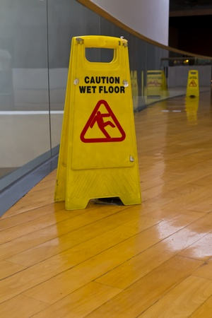 mopped:  caution sign on a wet floor