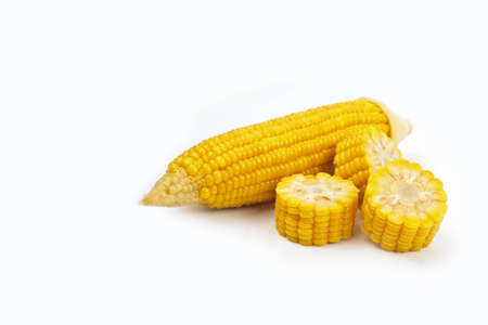 Boiled chopped corn. Isolated on the white. Stock Photo - 12515000