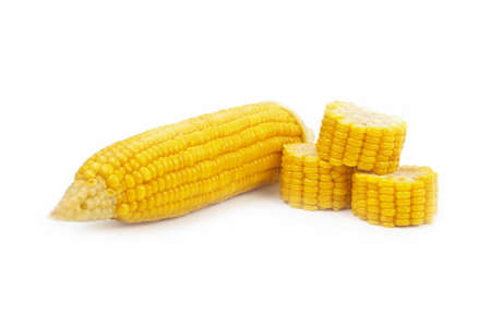 Boiled chopped corn. Isolated on the white. Stock Photo - 12806090
