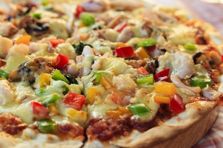 Seafood Pizza on the table. Stock Photo