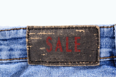 Leather sale label of jeans photo