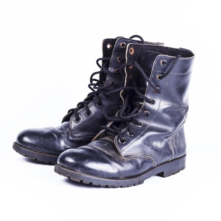 Military  boots at Through use.