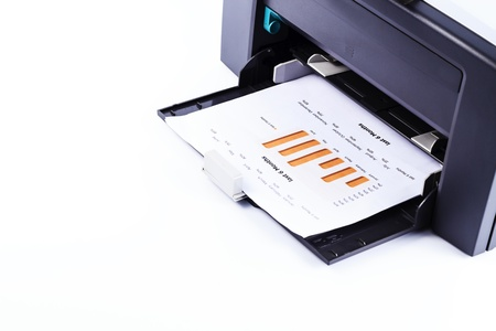 Printer printing business report Stock Photo - 13571233