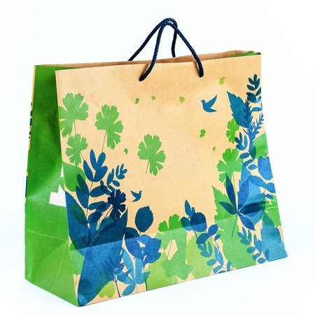 Concept picture of shopping recycle paper bag for save environment Stock Photo