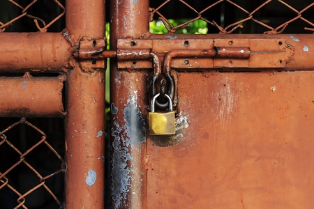 Iron padlock on old door photo
