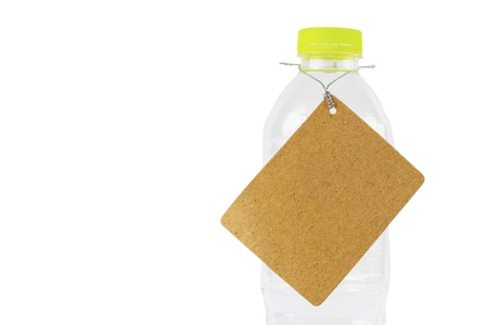 Plastic water bottle with a label hanging. Stock Photo - 13835473