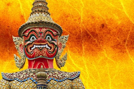 stupendous: Giant Statue  in Wat Phra Kaew,Temple of the Emerald Buddha Bangkok Thailand