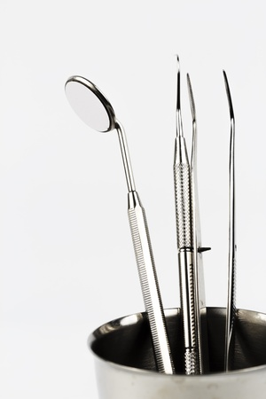 Set of metal medical equipment tools for teeth dental care Stock Photo - 14010890
