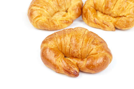 Fresh and tasty croissant isolated on white background photo