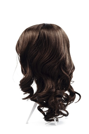 wig brown hair isolated photo