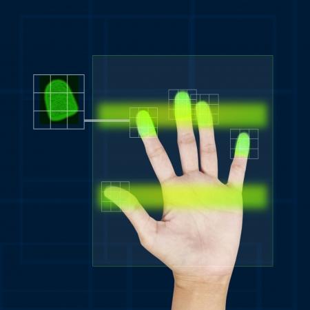 forensic science: fingerprint scanner security concept