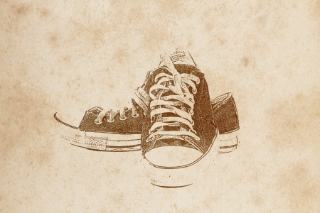 Old shoe drawing on old grunge paper  created and designed by  photographer