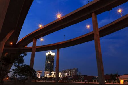 Architecture of Mega Bhumibol Industrial Ring Bridge at dusk in Thailand  photo