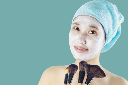 beauty asian  woman getting facial mask Stock Photo - 14509761