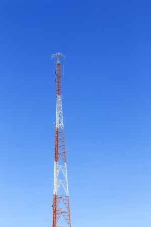 The communication tower with lightning protection. photo