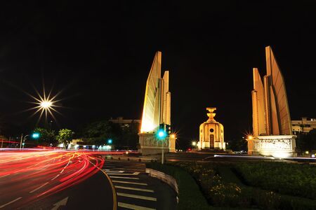Democracy monument at night, bangkok, Thailand