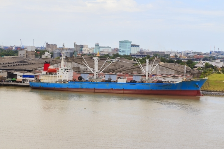 Cargo ship at Chao Phraya River. photo