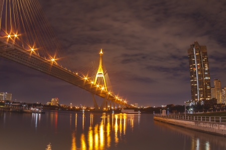 Architecture of Mega Bhumibol Industrial Ring Bridge at dusk in Thailand. photo