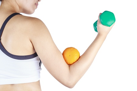 Young asian woman lifting a dumbbell photo