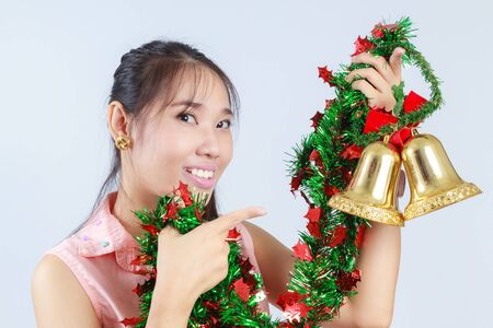 Asian women are decorated for Christmas  photo