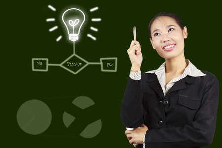 The decision of successful Asian business woman Stock Photo - 17592749