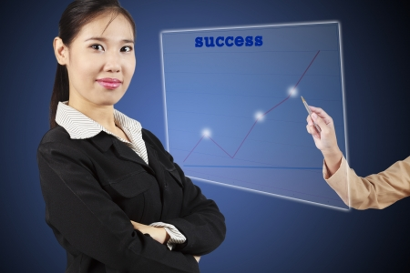 succeeding: Business success growth chart Asian businesswoman succeeding  Stock Photo