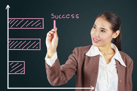 Business success growth chart.Asian businesswoman succeeding. Stock Photo - 17592746