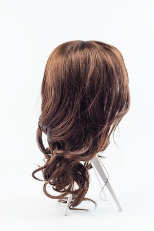 wig: wig brown hair isolated