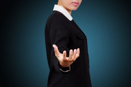 Asian business woman. Showing her empty hands. Stock Photo