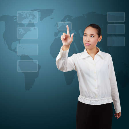 Business Woman pressing an imaginary button  photo