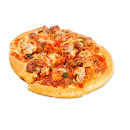 fresh italian pizza isolated over white background photo
