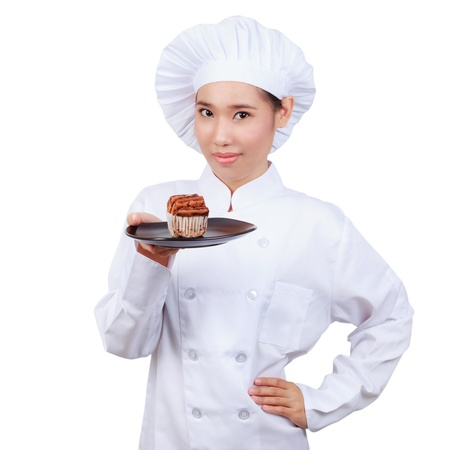 culinary skills: Chef showing  plate.isolated on white background with clipping path Stock Photo