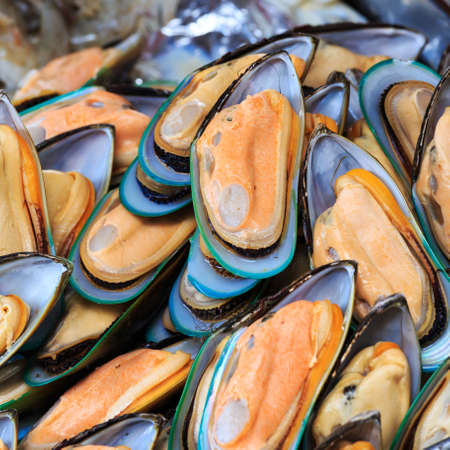 Green mussels on the market.