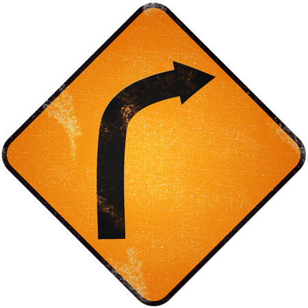 Turn right road sign. Damaged yellow metallic road sign with Turn right symbol. photo