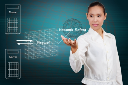 Businesswoman show simple diagram concept of security on the Internet. photo