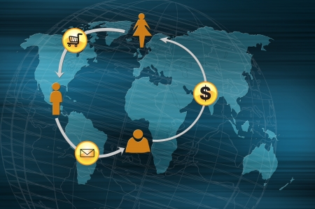 oncept: oncept of online transactions on the internet in business. Stock Photo