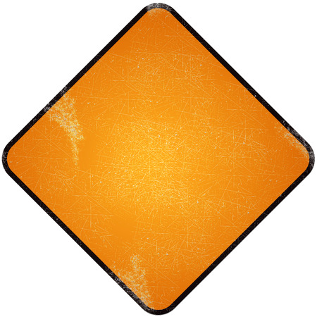 Yellow blank road sign. Damaged yellow metallic road sign for symbol road sign. photo