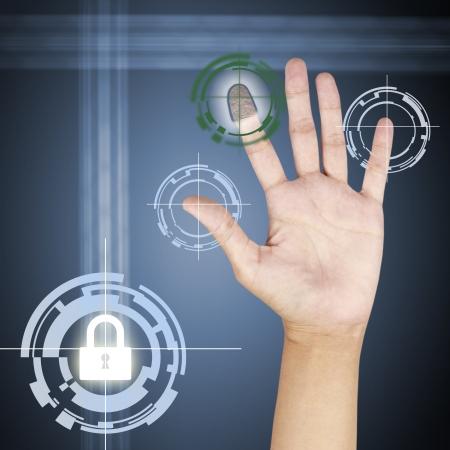 scanner: fingerprint scanner security concept .