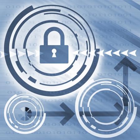 Security concept: Lock on digital screen Stock Photo