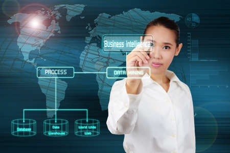 Business Intelligence and Data mining concept - business woman show on virtual screen