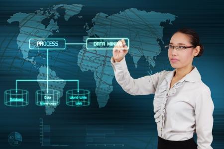 Data mining concept - business woman show virtual screen Stock Photo