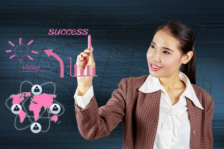 Business woman showing solution concept , Creative drawing business strategy plan idea