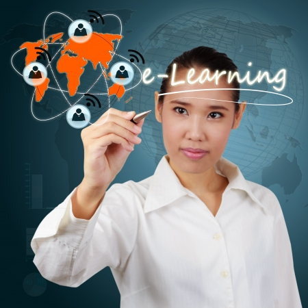 Woman showing  e-Learning concept of system online on the internet network. Stock Photo
