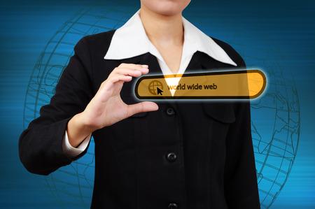 url virtual: world wide web bar on virtual screen in business hand Stock Photo