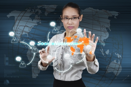 Hand of businessman touching virtual screen the social network concept. photo